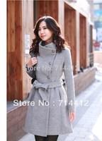 2015 autumn and winter women stand collar slim elegant wool coat medium-long woolen outerwear female
