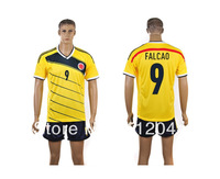 New 2013 - 2014  Colombia Home  yellow  jerseys  FALCAO 9  JAMES 10  training soccer Uniforms kits   Free Shipping