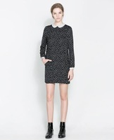 new 2013 brand spring polka dot ruffle sweep female girl dress polka dot women's long sleeve dress  girls' dresses casual