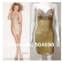 Free Shipping 2014 New Arrival Women's Off Shoulder Bead Bandage Dress HL Party Celebrity Evening Dresses Golden HL758