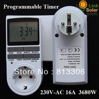 Free Shipping 230v AC16A EU Plug Programable Timer Switch 24h 7 Day week Digital Timer LCD display  big LCD screen