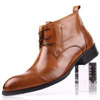 fashion men's  european version of the british style formal business  pointed toe  100% genuine leather  high lacing   shoes