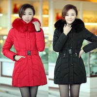 802 2013 slim thickening large fur collar medium-long down coat cotton-padded jacket female