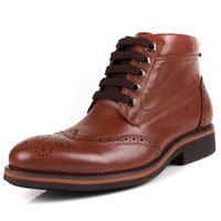 2014 spring autumn New fashion men's   100% genuine leather  boots high  casual  vintage carved high lacing   shoes