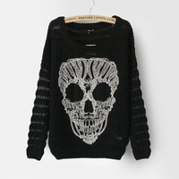 Excellent y140 Women personalized raglan sleeve loose sweater skull sweater  Free shipping