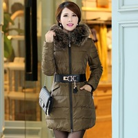 Medium-long luxury down coat velvet large fur collar slim belt down coat