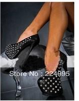 2013 sexy women's pumps 16cm ultra high heels platform party dance shoes Rivet pumps free shipping