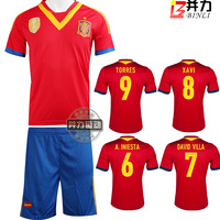 13 - 14 spain national team soccer jersey set men short-sleeve football clothing beriah torres jersey