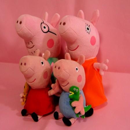 2014 brand new 4 pieces baby kids peppa pig plush toys george pig dolls anime peppa pig toys peppa pig family set sm4671(China (Mainland))