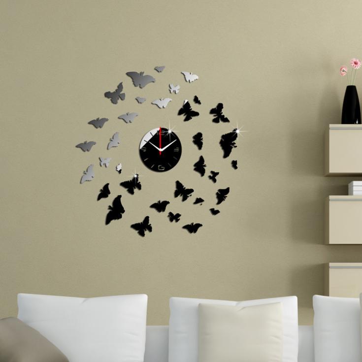 33 vlinders zwart en zilver wandklok spiegel wandklok modern design