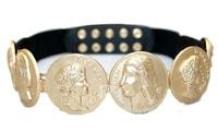 2014 luxury runway designer fashion women gold color Greek Gods coin belt belts cummerbunds faux leather adjust new arrival 1121