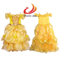 Children Kids Cosplay Dresses Rapunzel Costume Princess Yellow Dress  Wear Perform Clothes HOT Sale Girls Lace Dress