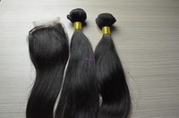 Cheap Brazilian virgin straight unprocessed virgin hair 3pcs lot mixed closure and hair bundles can be dyed Free shipping !
