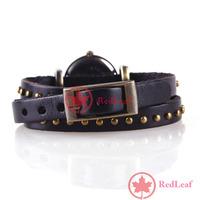 [Hot]:  Retro Woman Elegant Rivet Studded Wrap Around Leather Bracelet Wrist Watch Save up to 50%