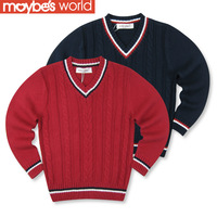 2013 autumn winter children's clothing male british style child sweater male big boy child basic sweater