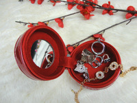 Classic red brief circle jewelry box lining small round mirror soft suede fabric