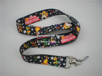 Printed Super Mario Bros Nylon Lanyard, Cell Phone Strap with Metal Clip, 90cm Long, Black, 35pcs/Lot, Free Shipping
