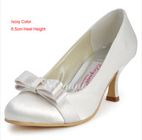 2014 Elegant Bowknot Bridal Shoes Wedding Dress Shoes Woman Formal Dress Shoes Sexy Satin Middle Heel Dancing Party Prom Shoes