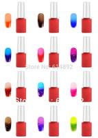 Fashion 24 PCS/ lot 2014 Hot 12ML Temperature Color Change Nail Art Color UV nail gel polish set 24 color Choose Free shipping