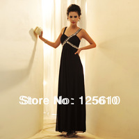 2013 hot-selling women's boutique elegance strap Long evening dress black V-neck dress
