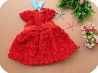 Pretty 5pcs/lot Red Rose Girls Princess Dress Baby Dresses for 2 to 6year Children Clothing