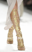Newest 2013 Flower Cut Out Summer Sandals Boot Women Leather Shoes Christmas Onsale Fashion Lady long Gold High heels Shoes