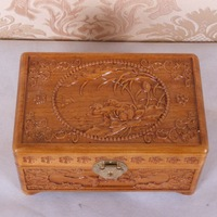 Dongyang wood carving camphor wood jewelry box wooden box wool crafts decoration gift