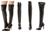 2013 Black Over Knee Fashion Boots for Women Genuine Leather Boots Pointed Toe Cut Out Boots Back Zipper Motorcycle Boots