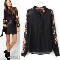 Three quarters fashion vintage print long-sleeve turn-down collar chiffon shirt black  broken flower chiffon women female KKS059