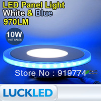 double colour 10W Round glass LED Panel Light White(5735) & Blue(3528) SMD Ceiling Lamp 85~265V
