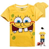 New 2014 fashion baby clothing 6 pcs/lot spongebob boys tshirt children's short sleeve T-shirt Children summer T-shirt wholesale