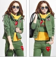 Wholesale Korean Style thick hooded cardigan women long sleeve casual sweater three-piece sport suit