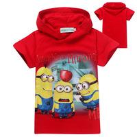 2014 Summer NEW Fashion despicable me minions children Hoodies girls boys short sleeve t shirts kids hooded girls summer tees