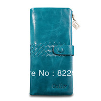 Famous brand oil wax genuine leather knitted female fashion long design wallet Korean style casual new clutch wallet card holder