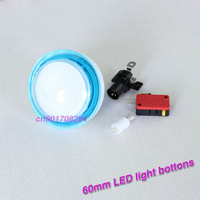 New 5 Pieces/lot Blue Edge Arcade LED Light Push Button For DJ Games Machine Buttons - 60mm