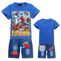 WHOLESALE Children clothing sets 2014 hot boys 2pcs/set sport suit set SPIDERMAN Baby Clothing Sets short sleeve T-shirt+ jeans