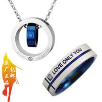 Set male necklace Men blue titanium male men's fashion accessories free shipping