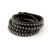 Ant dense line round rivet double genuine leather bracelet strap fashion men and women accessories