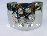 2014 New Brand Stainless Steel Bangles With Czech Crystal Love Wide Silver Bangles & Bracelets For Women Wholesale