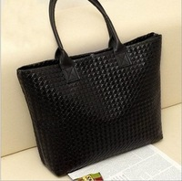 2013 New Korean Fashion Hot Sale Simple Plaid PU Leather Black Bag Women Handbag Casual Bag Ladies Shoulder Bag