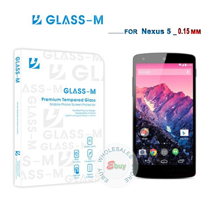 0.15 MM Nexus 5 tela Portector Original Glass-M de vidro temperado protetor de tela para o Google Nexus 5 Dropshipping(China (Mainland))