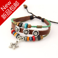 National trend color bead multi-layer knitted vintage punk bracelet fashion personality the trend of men and women accessories