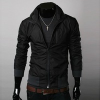 New 2014 Mens jackets stand collar plus thick cotton coats Fashion korean style for men casual outwear Casual Free shipping