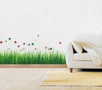 High quality!2013 New Ladybug Green grass DIY Removable Art Vinyl Wall Stickers Decor Mural Decal AY768