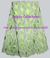 BCL00999 green free shipping african embroidery lace fabric swiss voile lace oranza lace french lace chemical lace