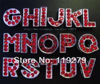 130pcs 8mm  Red  rhinestone A-Z Slide letters
