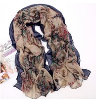 Wholesale 5pcs/lot , 100% new high quality hot 2013 summer and autumn 2013 women's scarves, retro floral pattern cotton scarf.
