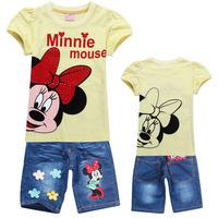 2014 NEW Children's clothing sets Girls Cartoon Clothing Set Kids Minnie Mouse Sports Suit kids girl's short t shirt+Jeans 2pcs