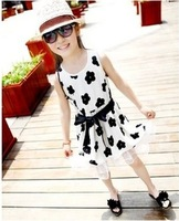 2014 summer new arrival sleeveless flower children girls princess cotton dress with chiffon ruffles 5pcs/lot wholesale