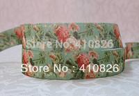 WM ribbon wholesale/OEM 5/8inch 1122012  Flower Printed folded over elastic webbing  FOE 50yds/roll free shipping